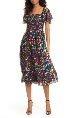 Tanya Taylor Glenda Smocked Silk Dress