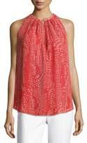 Ramy Brook Piper Sleeveless Pleated Ibiza Geo-Print Top, Red Pattern