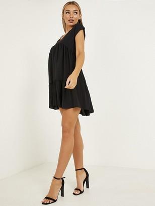 Quiz Black V Neck Short Sleeve Tiered Smock Dress