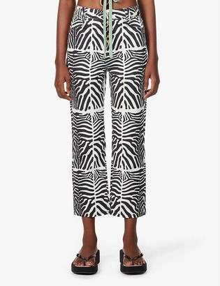 House of Sunny Reef Jessie zebra-print high-rise jeans