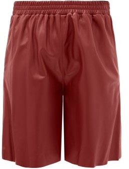 16Arlington Mandrake Elasticated-waist Leather Wide-leg Shorts - Burgundy