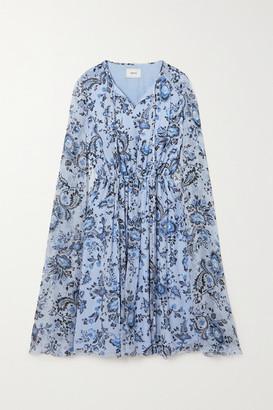 Erdem Austin Cape-effect Floral-print Silk-voile Mini Dress - Light blue