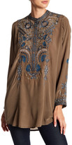 Johnny Was Printed Embroidered Silk Blouse