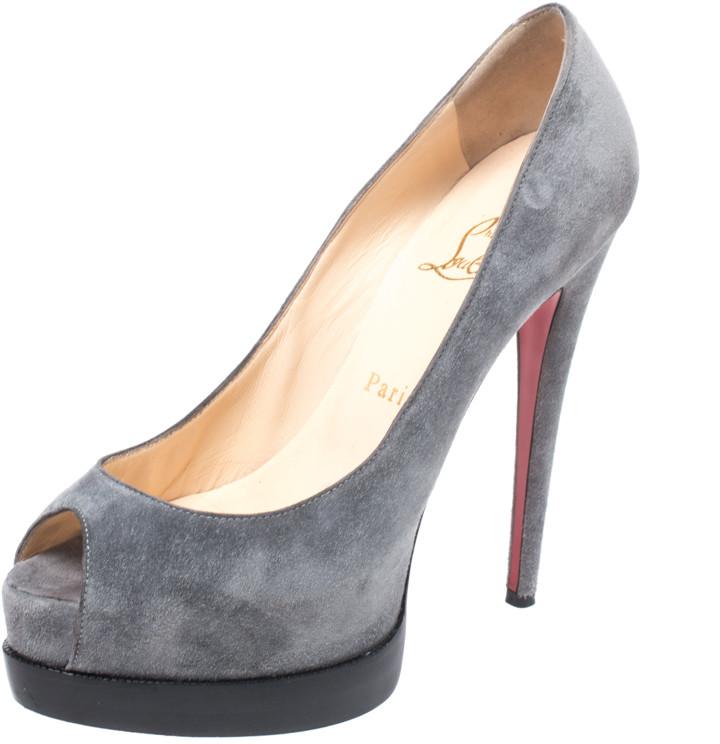 Grey Suede Peep Toe Pumps | Shop the