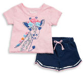 Flapdoodles Girls 2-6x Two-Piece Giraffe-Printed Top & Solid Shorts Set