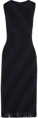 Oscar de la Renta Fringe-trimmed Jacquard-knit Midi Dress