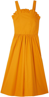 Sea Lace-up Cotton-poplin Midi Dress