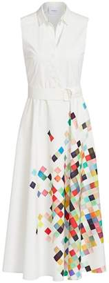 Akris Punto Sleeveless Pixel Print Belted Shirtdress