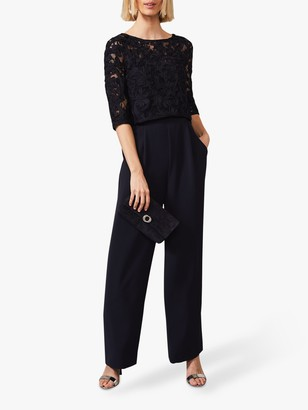 Phase Eight Elodie Wide Leg Lace Overlay Jumpsuit, Navy