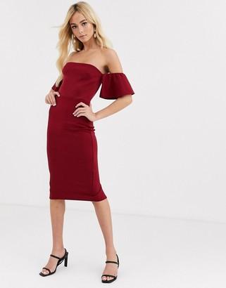 True Violet Bardot Midi Dress With Frill Sleeves