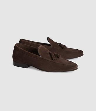 Reiss Larch - Suede Tassel Loafers in Dark Brown