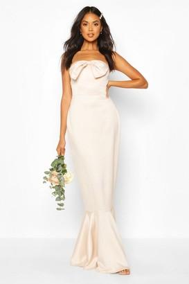 boohoo Bridesmaid Satin Bow Front Fishtail Maxi Dress