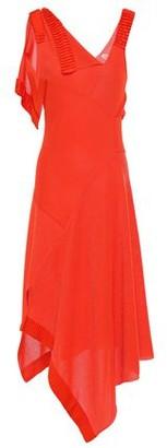 Victoria Beckham Asymmetric Draped Pleated Stretch-knit Midi Dress