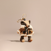 Burberry Thomas Bear Charm in Shearling Aviator Jacket