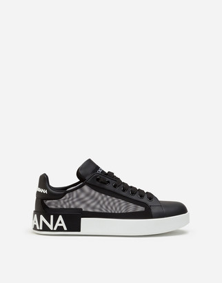 Dolce & Gabbana Portofino Sneakers In Nappa Leather And Mesh
