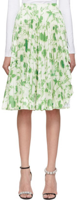 Calvin Klein White and Green Acid Leaves Soleil Pleated Skirt