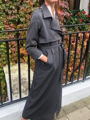 Jovonna London Nadia4 Trench Coat Pinstripe Grey - Small (S) | grey - Grey/Grey