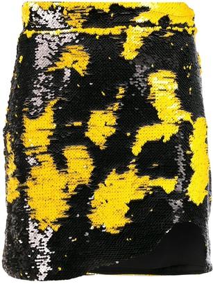 Ganni brush effect mini skirt
