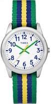 Timex Boys Time Machines Green/Blue/Yellow Stripe Metal Watch, Nylon Strap