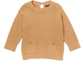 E-Land Kids Beige Dual-Pocket Tunic Sweater - Toddler & Girls