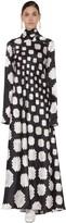 Marni Long Printed Turtle Neck Satin Dress