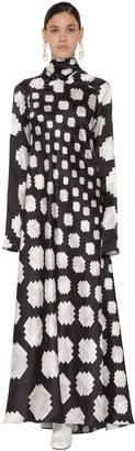 Marni LONG PRINTED TURTLE NECK SATIN DRESS
