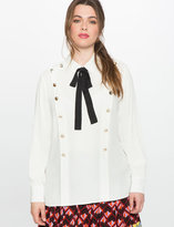 ELOQUII Plus Size Military Button Up Blouse