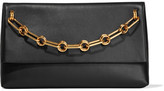 Michael Kors Mia Chain-embellished Leather Clutch - Black