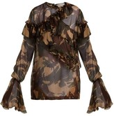 Preen by Thornton Bregazzi Bella Camouflage-print Silk-chiffon Blouse - Womens - Multi