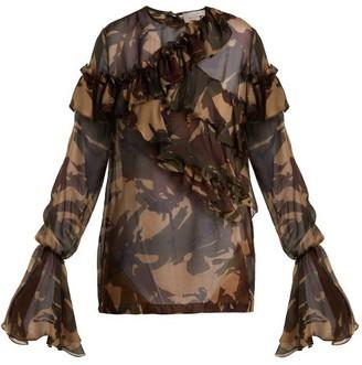 Preen by Thornton Bregazzi Bella Camouflage-print Silk-chiffon Blouse - Multi