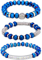 GUESS Silver-Tone 3-Pc. Set Blue Beaded Pavé Stretch Bracelets