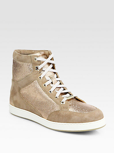 Jimmy Choo Tokyo Glitter & Suede High-Top Sneakers