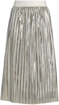 Alice + Olivia Gathered Lame Midi Skirt