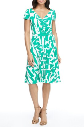 Maggy London Geometric Print Surplice Neck Wrap Dress
