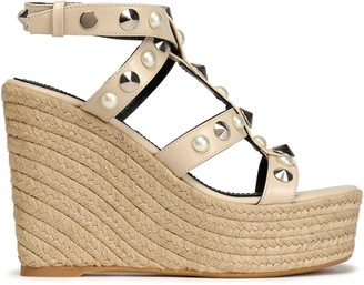 Nicholas Kirkwood Embellished Leather Espadrille Wedge Sandals