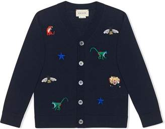 Gucci Kids Children's embroidered wool cardigan