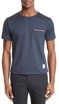 Thom Browne Men's Stripe Trim Pocket T-Shirt