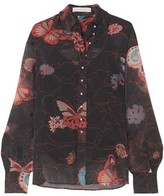 See by Chloe Button-detailed Printed Chiffon Shirt