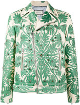Gucci foliage motif leather jacket - men - Silk/Deer Skin/Viscose/Brass - 50
