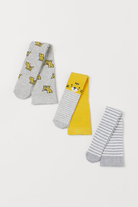 H&M 3-pack Fine-knit Tights - Yellow