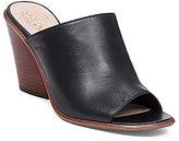 Vince Camuto Dormina Leather Slip On Peep-Toe Stacked Block Heel Mules