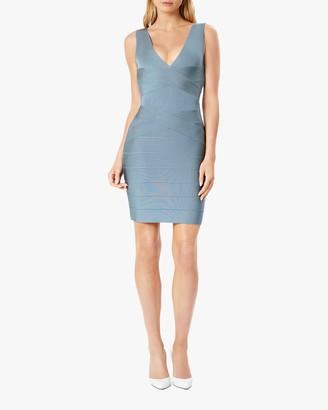 Herve Leger Cross-Front V Neck Mini Dress