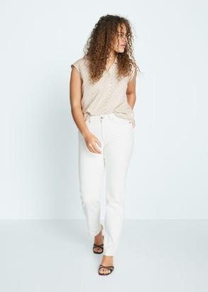 MANGO Violeta BY Button linen shirt white - 10 - Plus sizes