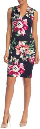Vince Camuto Floral V-Neck Scuba Dress