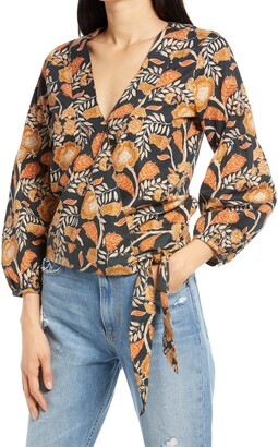 Faherty Seraphina Floral Twill Wrap Blouse