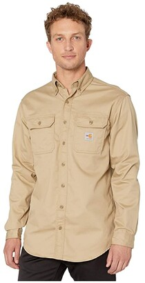 Carhartt Flame-Resistant (FR) Classic Twill Shirt (Khaki) Men's Short Sleeve Button Up