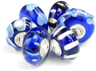 Queenberry Sterling Silver Assorted Dark Blue Murano Lampwork Glass 6-piece European Bead Charm
