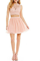 Xtraordinary Sleeveless Lace Top Two-Piece Dress