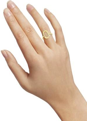 Sterling Forever Goldplated & Crystal Carabiner Ring/Size 7