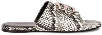 Balenciaga Oval BB Sandals in White & Black & Silver | FWRD